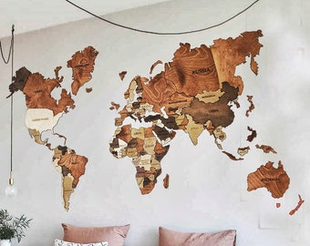 Wooden world map | Etsy