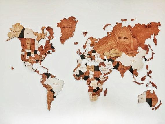 World Map Wooden Map Wood Wall Art Wooden Wall Decor Push Pin Map Wall  Decor Farmhouse Gift Christmas Gift