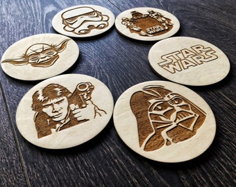 Star Wars Coasters, Star Wars wood coasters, Personalized Wooden Coasters Custom Star Wars Coasters,Anniversary Husband Gift Father Dad Gift