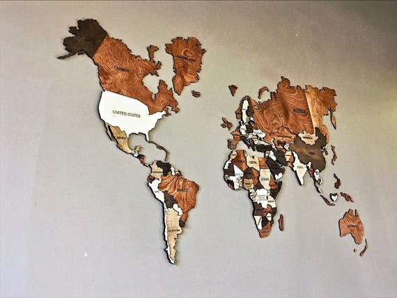 Wood Wall Art Wall Map Of The World Map Wooden Travel Push Etsy