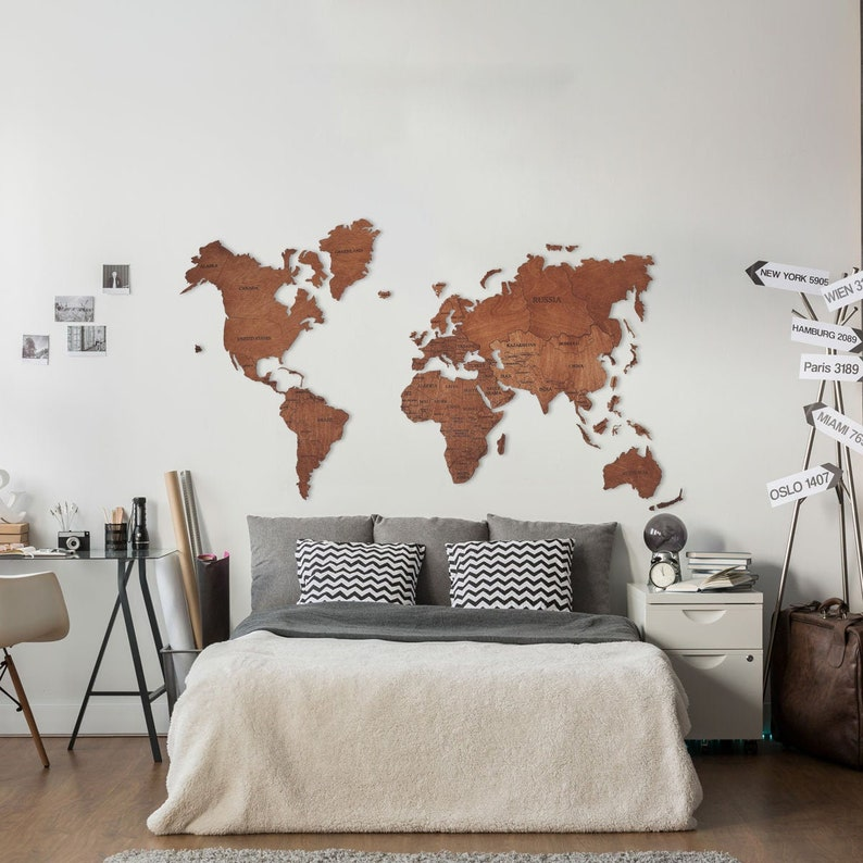 Wall Map of the World Map, Wood Wall Art, Large Wall Decal, Birthday New  First Home, Wedding Gift