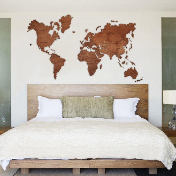 World Map Wall Art Wood Wall Art Rustic Wall Map Wood Map Push Pin World  Map Wooden World Map Wood World Map Wall Decor Christmas Gift
