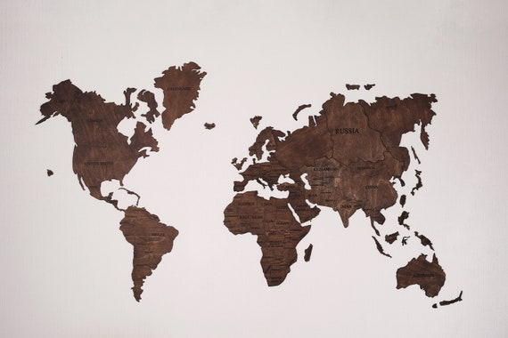 Rustic Wood Art Wood Art World Map Wood Map Large Wall Etsy