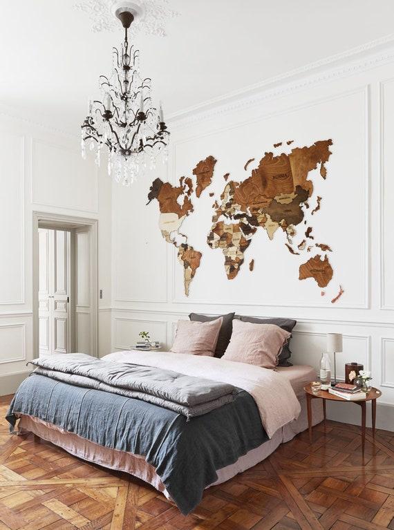 World Map Wood World Map World Map Wall Art Wood Wall Art Wooden World Map  Wood Map Travel Map House Wall Art Farmhouse Decor Christmas Gift
