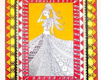Madhubani Art on Canvas Paper
