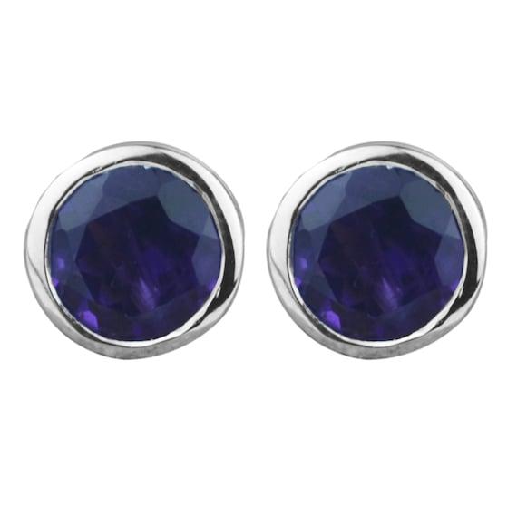 c5e4da4d7 Natural Purple Amethyst Stud Earrings 925 Sterling Silver | Etsy