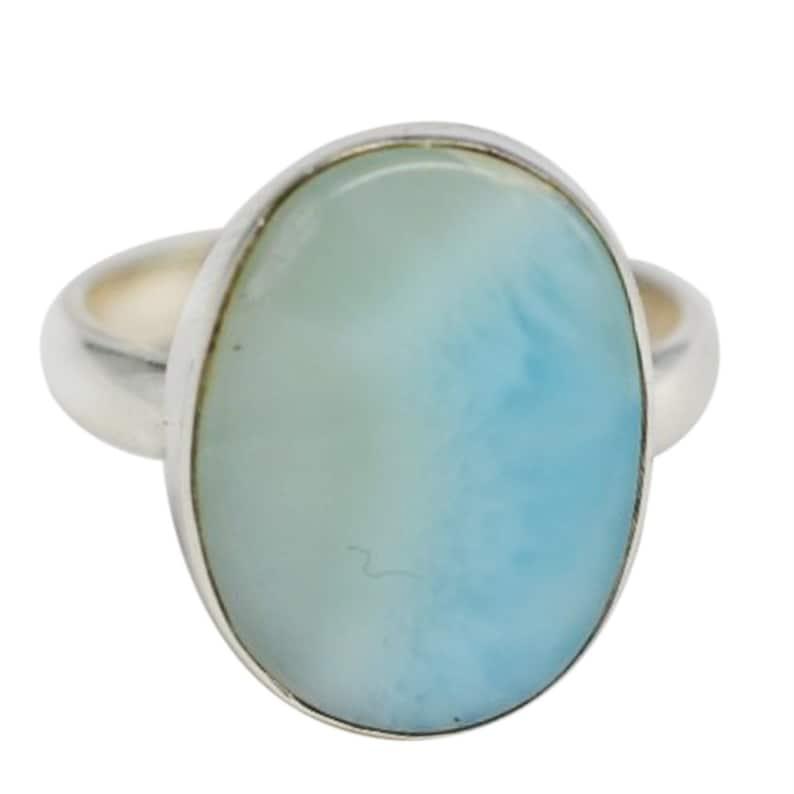 Larimar 925 Sterling Silver Ring 3.19 Gm Larimar Gemstone Ring Handmade Larimar Ring Jewelry 12x15mm Oval Shape Larimar Ring