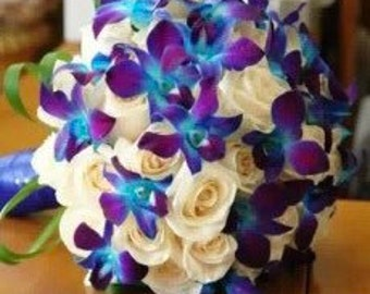 Blue orchid bouquet | Etsy