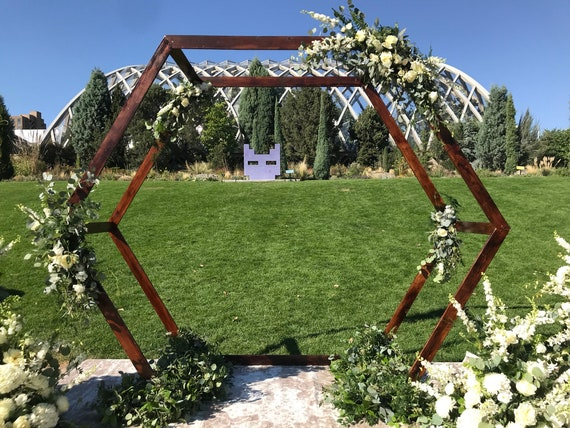 Hexagon Wedding Arch Wood Arch Honeycomb Wedding Arch Wedding Arbor Sola Wood Flowers Perennial Posy Wedding Flowers