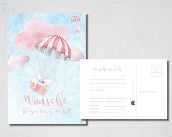25 Balloon cards-wishes fly through the air