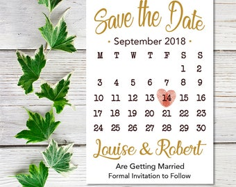 Save the Date Cards Calendar, Save the Date Calendar, Save the Date Calendar Printable, Save the Date Wedding Card, Typography Save the Date
