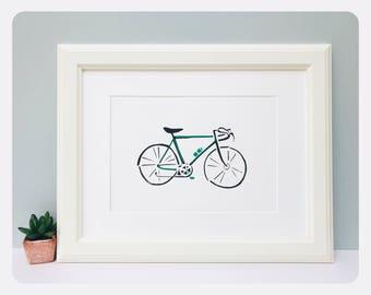Art Print, Cyclist, Limited Edition Screen Print, Wall Art, Home Decor, Racing Bike, A4, Gift