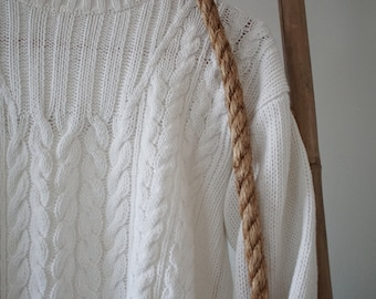 Vintage White Cotton Cable Sweater S