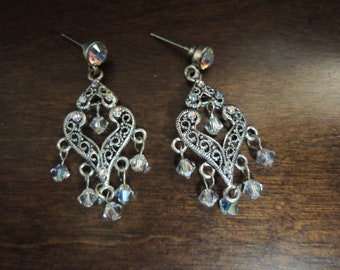 6dd1c90a4 Chandelier drop earrings colorful Mystic like Vintage hand crafted silver  finished