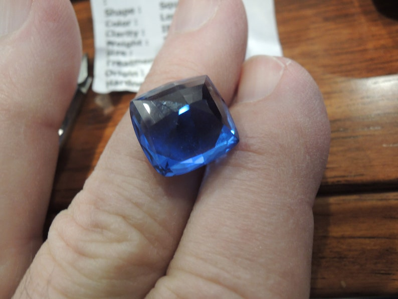 Rich Blue Topaz 15mm roughly weighing 18.35cts from Brazil this Gems was acquired in 1998