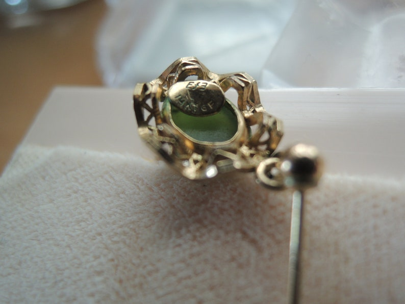 14k Gold Filled Genuine BC Jade Cabochon Vintage Drop and stud back earrings
