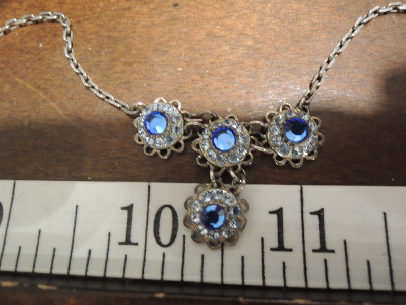 Solid Sterling Blue /& clear Crystal Necklace Handmade 1965 era Nicely Patina Laden Clear markings 18.5 inches
