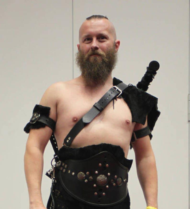 GOT Dothraki Style Black Leather, Merino Fur Artisan Cosplay Ensemble Set