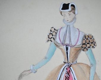 Original watercolour, fashion, women in period dress, vintage 50s, signed