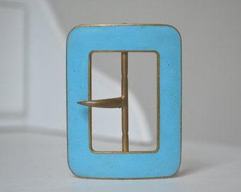Boucle de ceinture bleue émaillée ancienne, rectangulaire, dorée 4b798be9b1b