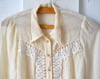 1930 silk top, cream,sheer, lace , long sleeves, vintage