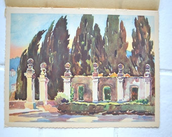 Nice,print, Cypress path view, south of France, vintage, 30s