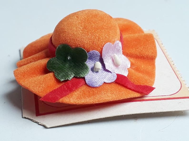 Vintage orange hat brooch velvet and flowers textile pin