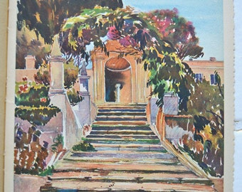 Nice,print,villa Arson's old stairs, south of France, vintage, 30s