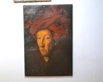 Man portrait, realistic painting, after Van Eyck, Man wearing red turban