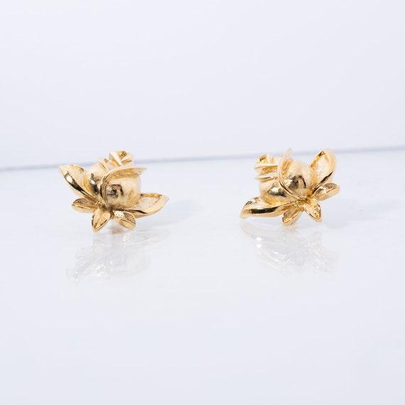 Vintage Trifari Earrings - Rosebud Earrings - Sig… - image 4