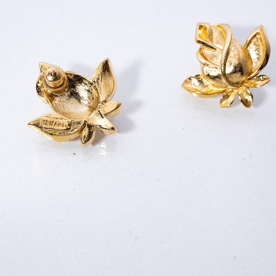 Vintage Trifari Earrings - Rosebud Earrings - Sig… - image 2
