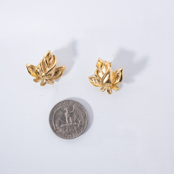 Vintage Trifari Earrings - Rosebud Earrings - Sig… - image 3