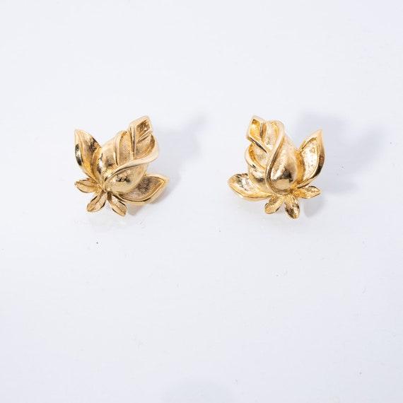 Vintage Trifari Earrings - Rosebud Earrings - Sig… - image 1