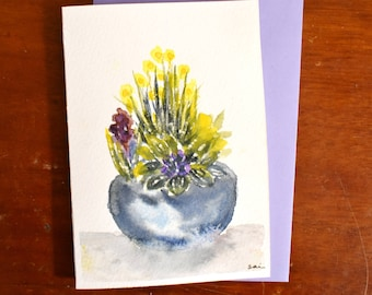 Flowers in a pot Original Watercolor painting card A6