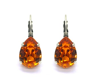 Earrings ' The drop ' old silver with Swarovski crystals ' tangerine '