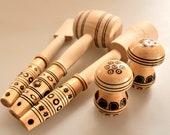 NOS Wooden Kitchen Utensils, Vintage Cooking Tools Set, Meat Hammer, Potato Masher, Wooden Spatula, Wooden Mushroom Salt and Pepper Shakers