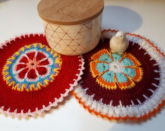 Pot cloth, crochet, mandala wrinkle