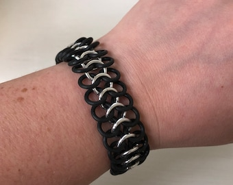 Black And Silver Stretch Bracelet | European 4 in 1 Weave | Handmade Chainmaille Jewelry