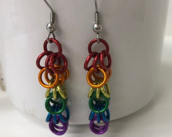 Colorful Shaggy Loops Chainmaille Earrings