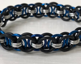 Blue Helm Chain Stretch Bracelet | Helm Weave | Stretchy Chainmail | Handmade Chainmail Jewelry