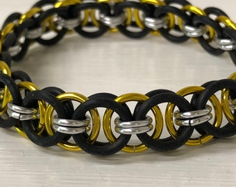 Yellow Helm Chain Stretch Bracelet | Helm Weave | Stretchy Chainmail | Handmade Chainmail Jewelry