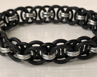 Black Helm Chain Stretch Bracelet | Helm Weave | Stretchy Chainmail | Handmade Chainmail Jewelry