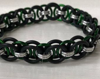 Green Helm Chain Stretch Bracelet | Helm Chain Weave | Stretchy Chainmail | Handmade Chainmail Jewelry