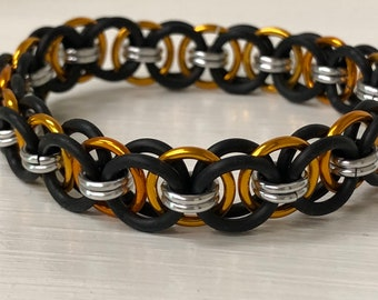 Orange Helm Chain Stretch Bracelet | Helm Weave | Stretchy Chainmail | Handmade Chainmail Jewelry