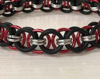 Red Helm Chain Stretch Bracelet | Helm Weave | Stretchy Chainmail | Handmade Chainmail Jewelry
