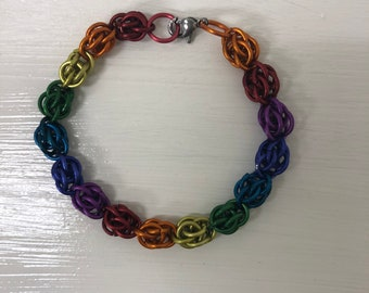 Rainbow Chainmail Bracelet | Sweet Pea |  Handmade Chainmail Jewelry | LGBT | Pride Jewelry