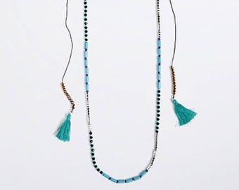 Beaded necklace, long necklace, boho necklace, turquoise necklace,