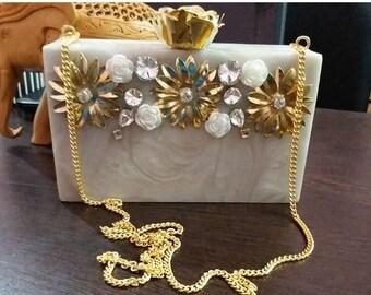 Acrylic clutch with embellishments