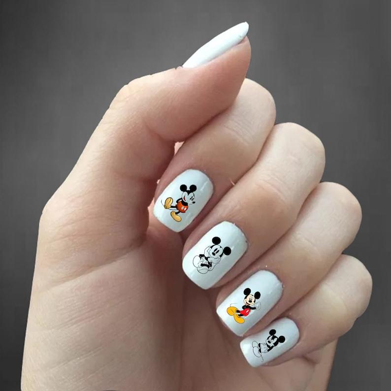 Mickey Mouse Nail Decals Mickey Mouse Nail Art Mickey Etsy