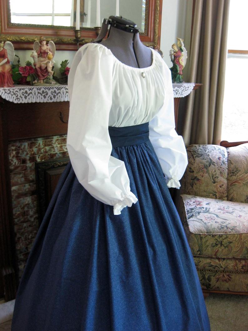 Victorian Dresses | Victorian Ballgowns | Victorian Clothing     Civil War Era Western Trek Pioneer Victorian Dress - Antique Design in Blue All Three Pieces Included $69.95 AT vintagedancer.com